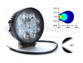 Proiector LED Offroad 27W Rotund - Raza 60°